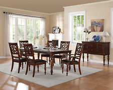 Traditional Cherry Brown 7 piece Dining Room Set Rectangular Table Chairs IC5B