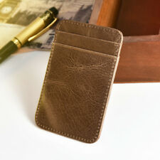 New Mens Small Real Leather ID Credit Card Wallet Holder Slim Thin Pocket Case