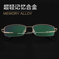 Trendy Unisex Reading Glasses+1.0+2.0+3.0+4.0+5.0+6.0 Metal Memory Frames Gold
