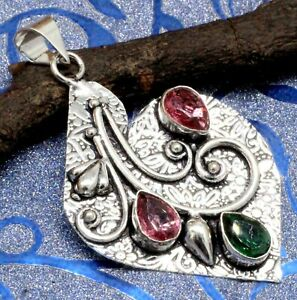 """925 Sterling Silver Chrome Diopside & Topaz Gemstone Jewelry Pendant Si-2.10"""""""