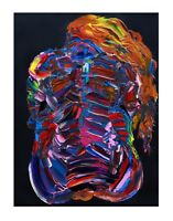 PRINT The Polychromatic Girl Vivid Psychedelic Painting of Nude Woman Wall Art