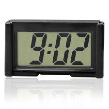 1pc Car Interior Dashboard Digital Clock LCD Screen Self-Adhesive Bracket Black