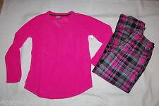 Womens L/S Pajamas Set HOT PINK TOP Microfleece PLAID PANTS Black Gray S 4-6