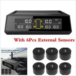 Solar TPMS Car LCD Tire Pressure Monitoring System W/ 6Pcs Sensors For Car Truck