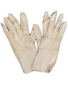 """Vintage Women's Leather Gloves Off White Soft Rough Condition Marked """"125 138"""""""