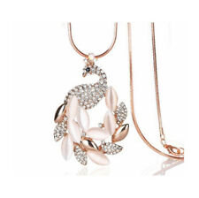 Nataliya Rose Gold Peacock Pendant Long Necklace