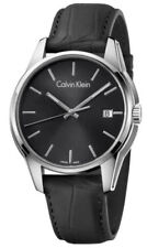 New Mens Calvin Klein Black Dial Leather Swiss Made Quartz Watch K7K411C1#