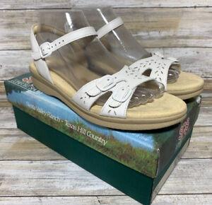 SAS Tripad Duo White Sandals Sz 9.5 S Slim Extra Narrow AAA Leather Perforated