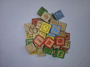 Wooden Alphabet Learning Blocks With Shapes And Animals 43 Blocks 1- 3/8  Size