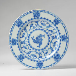 Antique Chinese Porcelain 18th C Kangxi/Yongzheng FISHES Blue White Dinner Plate