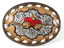 Western Cowboy Oak Leaf & Acorn Belt Buckle By TONY LAMA In Box 31916