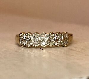Vintage 9ct Gold Diamond Eternity Ring Stacking Band Size Q 1/2