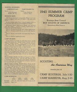 Parkersburg, Walker, WV Camp Kootaga BOY SCOUT program for 1940, Very Fine