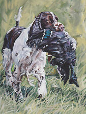 "english SPRINGER SPANIEL PRINT of dog painting by LAShepard 12x16"" hunting dog"