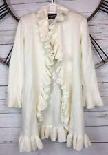 Alpaca By Karim Womens Medium Ivory Ruffle Knit Cardigan Sweater One Hook Front
