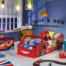 DISNEY CARS LIGHTNING MCQUEEN STORAGE TODDLER BED + FULLY SPRUNG MATTRESS RED