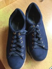 New Look Navy Faux Suede Lace Up Trainers / Casual Shoes Size 6 Worn Twice