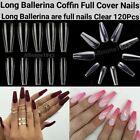 100/500/600Pcs Long Ballerina Coffin/Flat French/Stiletto/Almond False Nail/Tips
