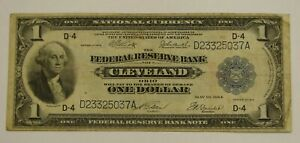 1918 Large Size $1 Federal Reserve Note - Cleveland - Avg. Circulated