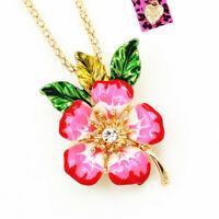 Betsey Johnson Enamel Crystal Peach Blossom Flower Pendant Necklace/Brooch Pin