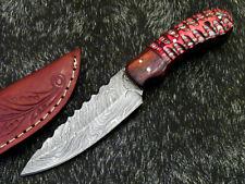 """DAMASCUS STEEL 8.0"""" HANDMADE FULL TANG SKINNING KNIFE - HARD WOOD - PS-324"""