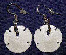 "Genuine Dangle Sand Dollar Earrings 1""/27mm. Stainless Fishhook Style Ear Wire."