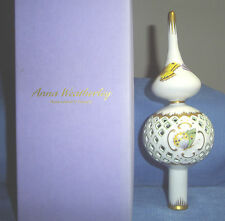 """Anna Weatherley 8.75"""" Hand-Painted Porcelain Christmas Tree Topper-Hungary-Rare"""