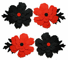 Halloween Felt Flowers Die Cuts Orange and Black Embellishments Autumn Appliques