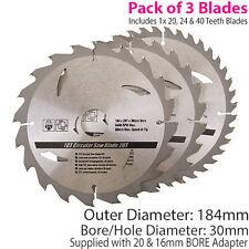 Qté 3 184mm x 30mm TCT Lames de scie circulaire - 20t 24t 40t - 20mm 16mm Anneaux