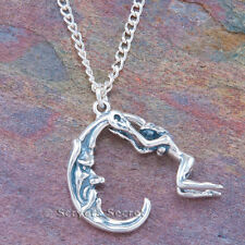 925 sterling silver nude WOMAN RIDING MAN in the MOON Pendant Necklace Moveable