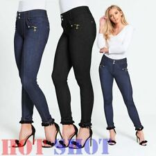 Womens Ladies Mid Waisted Blue Skinny Jeans Stretch Denim Jeggings Size 6 - 22