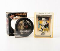 Lot of 2 Pittsburgh Penguins Memorabilia Sidney Crosby Rookie Card & Litho Puck
