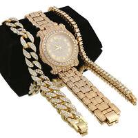 14K Gold Plated Fully Cz Watch 3pcs Set 1 Row, Cuban Bracelet Bundle #1