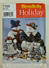 "Simplicity 7399 Snowman Woman Craft Patterns 22 & 33"" Dolls Clothes Uncut"