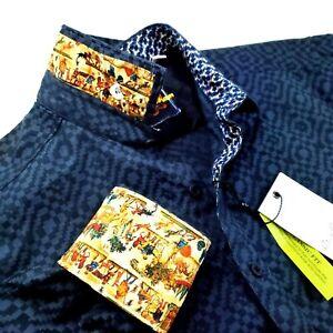 Robert Graham Geometric Paisley Renaissance Print Navy Sports Shirts $248 Medium