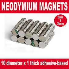 Super Strong Magnets (10mm x 1mm) Powerful * 0.6Kg PULL* with an adhesive base