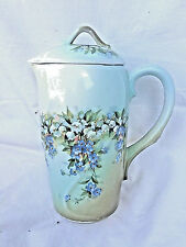 ANTIQUE IMPERIAL RUSSIAN KUZNETSOV PORCELAIN HP COVERED CHOCOLATE POT