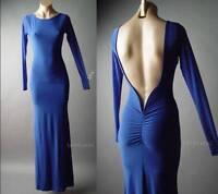 Sale Blue Column Open Back Evening Formal Mermaid Gown Long 102 mv Dress S M L