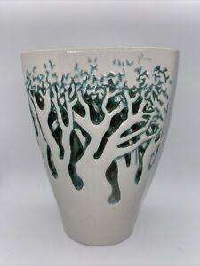 Vintage ROYAL HAEGER Flat Cylinder Ceramic Vase White And Green Haze Forest Tree