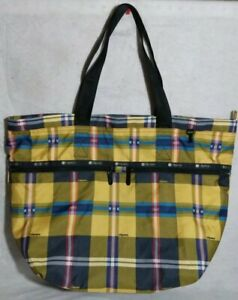 """LeSportsac 15"""" by 21""""  Large Black Yellow Blue Plaid Tote NWOT"""