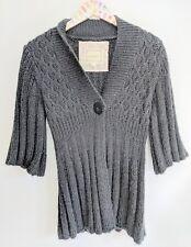 Kenji Womens M Black Cardigan Sweater 3/4 Sleeve Peplum Hem
