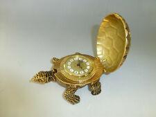 Vintage Swiss Looping Gold Tone Metal Turtle Tortoise Ornament 8Day Alarm Clock