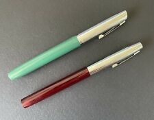 Vintage Sheaffer Cartridge Fountain Pens Lot of 2 Chrome Clear Red & Green NICE!