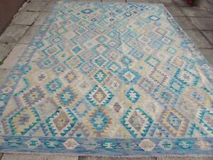 Vintage Kilim Traditional Hand Made Oriental Blue Grey Wool Kilim Rug 350x255cm
