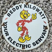 VINTAGE REDDY KILOWATT PORCELAIN SIGN ELECTRIC SERVANT OIL GAS PUMP PETROLIANA