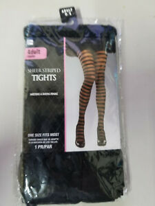 Black and  Translucent  Wide Striped Thigh High Stockings Sexy Costume Cosplay
