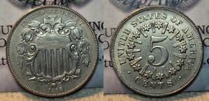 1866 Shield Nickel 5c Better Issue AU !!