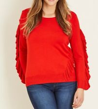 Plus Size Crossroads Soft & Thin Knit Frill Sleeve Red Jumper Size 22 Post