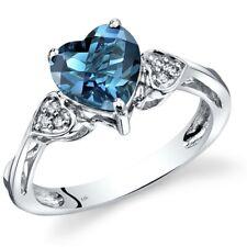 14K White Gold London Blue Topaz Heart Shape Diamond Ring 2 Carats Size 7