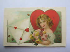 POSTCARD of LOVE HEARTS on a LETTER with YOUNG GIRL PICTURED c1908